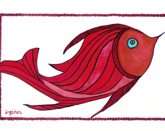 Raul Red Fish: whimsical fish print