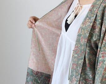 traditional flower kimono, SAMEKOMON kimono, Japanese haori, kimono jacket, vintage kimono, oriental /2772