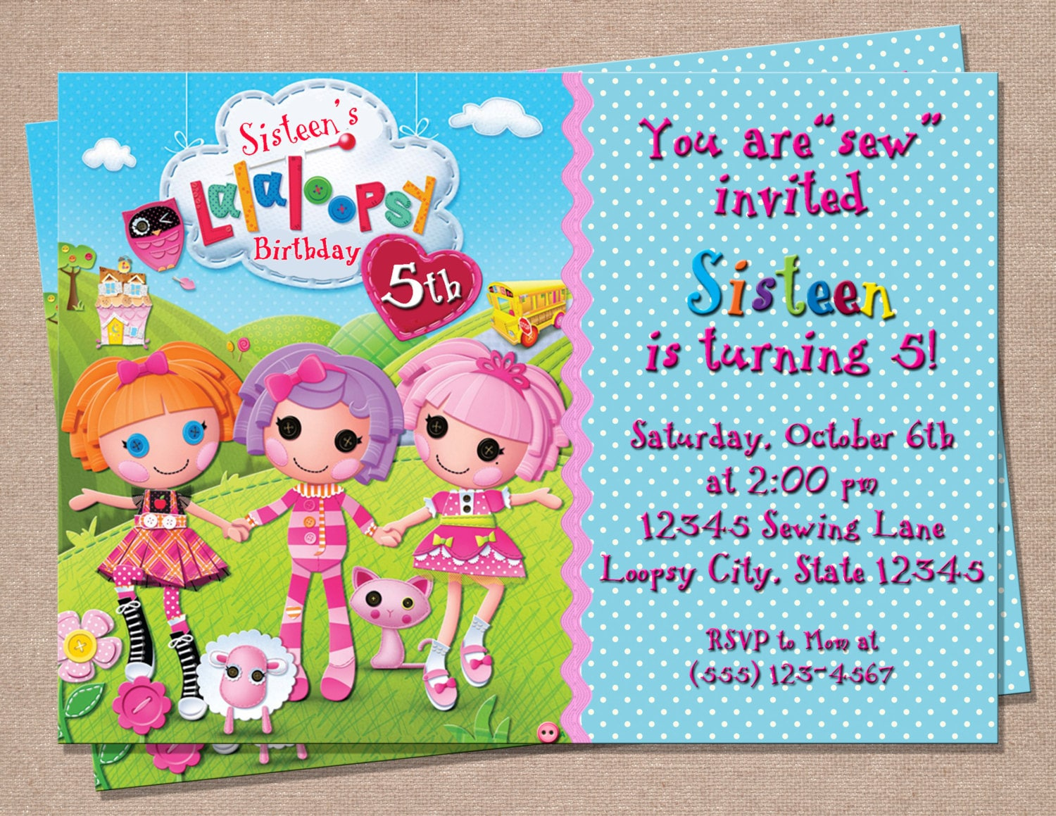 Lalaloopsy Birthday Invitation Lalaloopsy Party Invitation