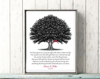 Mother of Bride Gift from Groom or Gift to Parents, Poem for Mother In Law to Be Personalized Print Black White Red Canvas or Print