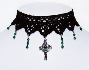Gothic celtic cross choker necklace with Emerald green Swarovski - IMMORTAL victorian steampunk elegance