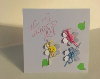 Flower cut out thank you card
