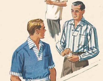 Vintage 1950's Sewing Pattern Mens Sports Shirt medium Neck 15-15.5 C 38-40