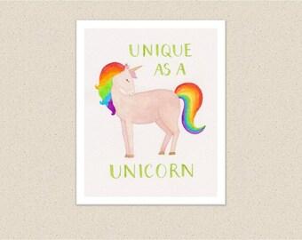 Unicorn nursery art, cute unicorn printable, baby kids room decor, neutral nursery decor, rainbow colors wall art, digital file for download