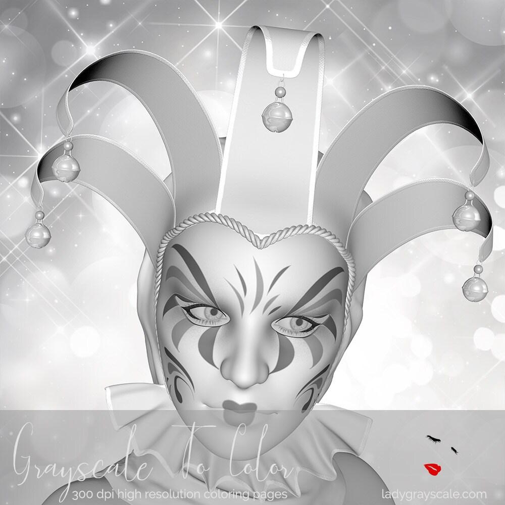 Venezianische Maske Graustufen Färbung Seite Graustufen