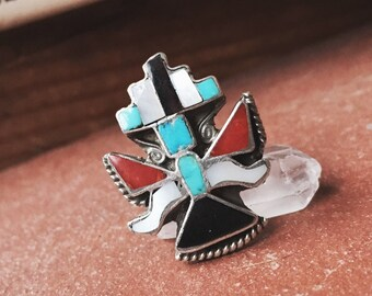 VC-120, vintage Zuni inlay Kachina dancer ring