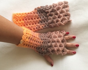 Crochet Fingerless Gloves Crocodile Stitch in Shades of Tan Cafe Coral Orange and Flecks of White