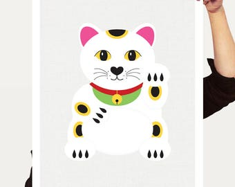 lucky cat print - Japanese Maneki-Neko Daruma art illustration, beckoning cat, waving, good luck, kitty, kitten, pet art, artwork, asian