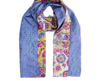 Astrid Kantha Scarf, Traditional Kantha Stitch, Hand Embroidered, Reversable