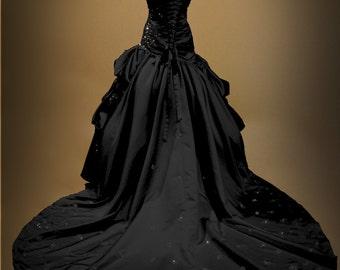 Black Gothic Wedding Dress Ball Gown