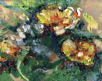 "Oil flower painting, original ""Yellow flowers"", oil on hardboard (orgalite)"