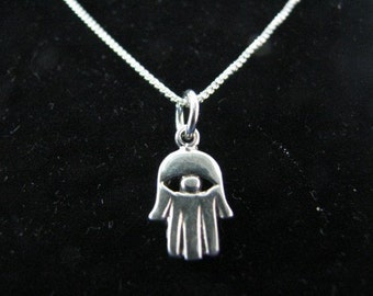 Sterling Silver Hamsa Hand Pendant Necklace
