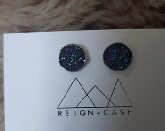Blue/purple faux druzy earrings