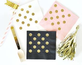 Party gold foil napkins, Birthday/ Bridal Shower party napkins, Dessert Table napkins - Set of 25