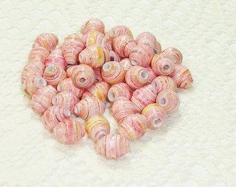 Paper Beads, Loose Handmade Jewelry Supplies Round Pink and Yellow Roses