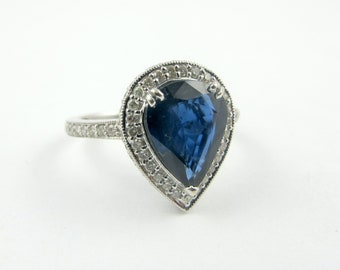 Estate 14K Gold Natural Sapphire And Diamond Ladies Ring Size 8 Fine JEWELRY