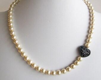 I Heart Pearls Asymmetrical Necklace Handmade Wedding