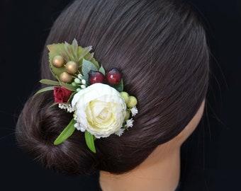 Boho wedding/ Flower hair clip/ Burgundy Ivory hair clip/ Rustic wedding/ Flower girl headpiece/ Floral hair clip/ Bridal headpiece/ Ivory
