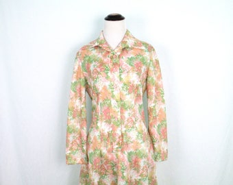 1970's Botanical Print Polyester Dress Vintage Pastel Floral Button Front Collared Long Sleeve Dress Women's Handmade 70's Clothing