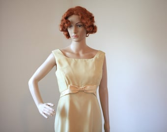 Women's Gold Vintage 1950s 1960s Wiggle Dress Yellow