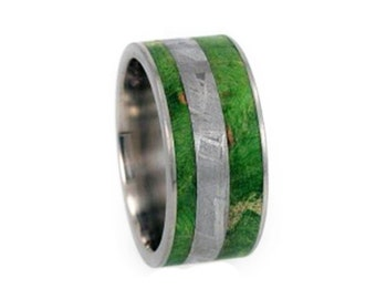 Unique Wedding Band, Meteorite Ring With Green Box Elder Burl, Wood Inlay Ring