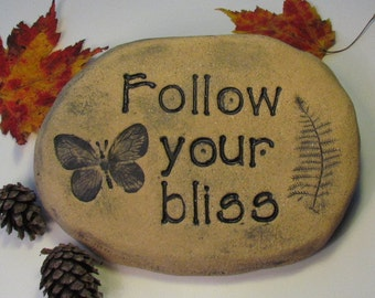 Follow your bliss ! Butterfly and quote. Sign for altar, spa, studio, garden. Ceramic terracotta tile. Yoga home decor, Boho home decor