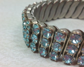 BLUE RHINESTONE BRACELET, Expansion, Flex Watch Band, 1950's, Japan, Vintage Costume Jewelry
