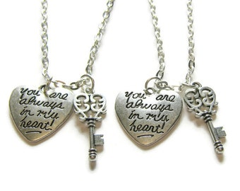 2 Key You Are Always In My Heart Necklaces