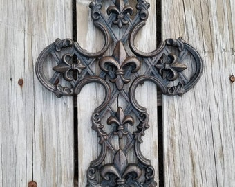 Wall Cross, Fleur De Lis, ornate cross, Cast Iron cross, cross wall decor, decorative cross, anniversary, religious decor, unique wall cross
