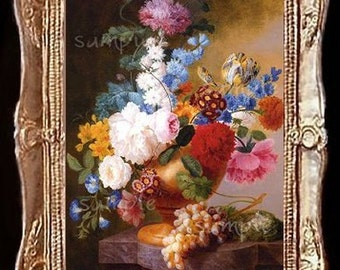 Fruit And Floral Still Life Miniature Dollhouse Art Picture 6164
