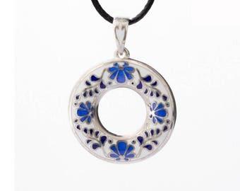 Sterling silver enamel flower ornament pendant