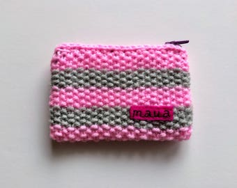 Hand Knitted Purse / Wallet / wool / knit / coins / cards / gift