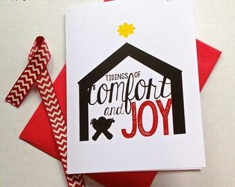 Religious Christmas Card - Comfort & Joy - God Rest Ye Merry Gentlemen