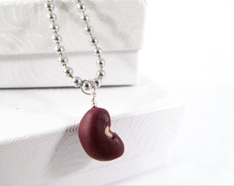 Kidney Red Bean Necklace, red bean pendant, kidney bean, polymer clay red bean, bean charm, lucky bean, red bean charm, red bean jewelry