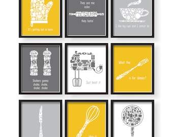 Yellow Kitchen Decor, Yellow kitchen prints, Yellow kitchen wall art, Mustard Yellow Wall Art, Yellow Home Decor, Prints for Kitchen, 9 Set