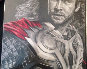 Original Drawing of Chris Hemsworth as THOR in Avengers (NOT a print)