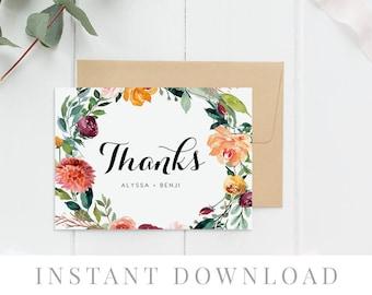 Printable Thank You Card INSTANT DOWNLOAD, Wedding Favor Card, DIY Printable Decorations, Templett, Editable pdf, Floral, Breeze