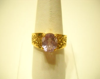 Gorgeous Light Amethyst Crystal Ring (5695) HGE, Size 9 1/2