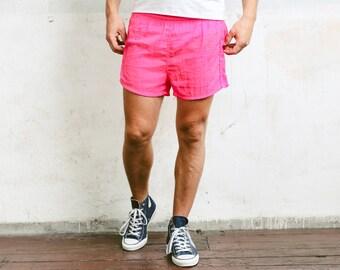 Retro Summer Pants . 80s Surfer Shorts Vintage Beach Shorts Mens Board Shorts 80s Short Pants Swim Trunks Holiday Shorts . size Medium M