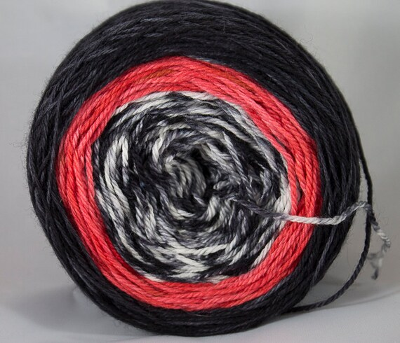 Superwash Merino Fingering Gradient Yarn, Rooster Colorway, 3-ply Yarn