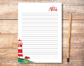 PDF Printable Notes: Red Lighthouse Pattern