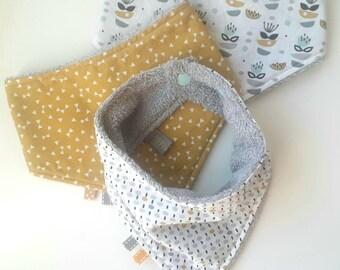 Lot de 3 bavoirs bandana, anti bavouille bébé, bavoir bandanas, bavoir modern, bavoir triangle, bavoir scandinave, cadeau de naissance mixte