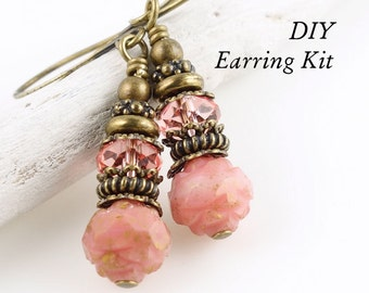 DIY EARRING KIT - Vintage Inspired Beaded Pink Earrings with Antique Brass Beads and Findings and Swarovski Crystal