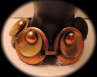 Artisan Copper Circles Bracelet 1960-1970