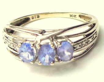 Tanzanite 10kt Solid White Gold Ring, Diamond Accents, Natural Gemstones, Lavender Blue Rare Gems, Estate Jewellry