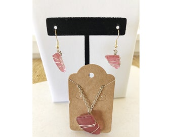 Red Sea Glass Earrings and Necklace