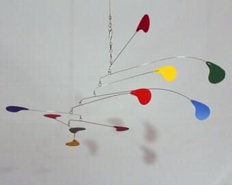 Kinetic Art Mobile, Rainbow Mobile, skys53, Calder Inspired Mobile, Hanging Mobile, DewDrop Mobile, Sculpture, Mobiles, Horizontal Mobile
