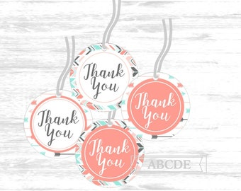 Thank you tags Arrows baby shower thank you tags coral mint party printable favor tags thank you labels woodland favor tags  (TRB511)