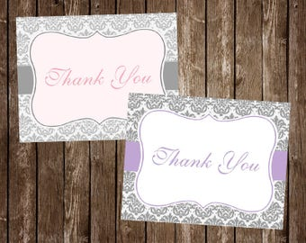 Baby Shower Thank You Cards, Damask, Girl, Pink, Purple, Birthday, Paris, French, Eiffel Tower, Parisian, Gray, Grey, 20 Folded Notes