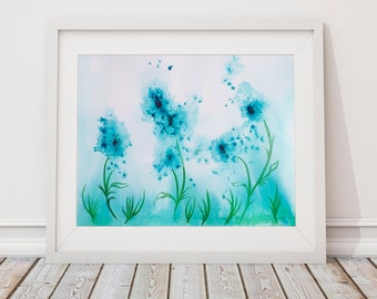 Wall art printables Teal artwork Abstract flower painting Instant Digital Download Beautiful Teal Abstract Floral Watercolor Download art
